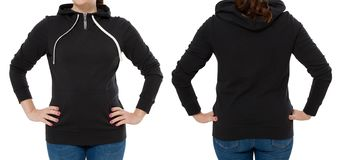 Front back and rear black sweatshirt view. Woman in template hoody clothes for print and copy space isolated on white background. Hoody Mockup. Cropped image stock images