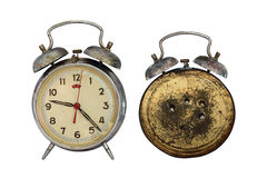 Front and back of the retro clock Stock Images