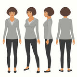 Front, back and side view of secretary. Vector woman cartoon character, front, back and side view of secretary Royalty Free Stock Photography