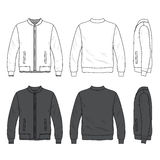 Front, back and side views of blank bomber jacket with zipper Royalty Free Stock Image