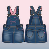 Front and back sides of a denim sundress. Colored tech sketch of a denim sundress for further product development. Cute kitty`s face decoration in front stock illustration