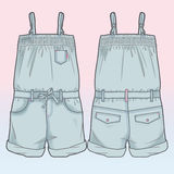 Front and back sides of an overall. Colored tech sketch of an overall royalty free illustration