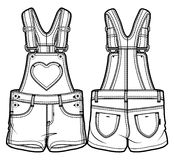 Front and back sides of an overall. Tech sketch of an overall for further product development vector illustration