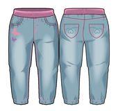 Front and back sides of pants. Colored tech sketch of denim pants for further product development vector illustration