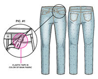 Front and back sides of pants. Tech sketch of pants with an all-over print for further product development royalty free illustration