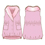 Front and back sides of a vest. Cute pink quilted vest with fur collar royalty free illustration