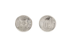 Front and back of Singapore coin 10 cent. Stock Photos