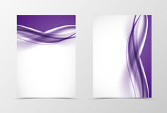 Front and back smooth design flyer template. With light purple wavy lines in soft dynamic style. Vector illustration stock illustration