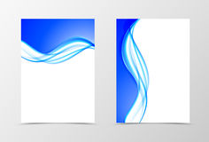 Front and back soft design flyer template. With blue light wavy lines in dynamic elegant style. Vector illustration stock illustration