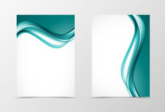 Front and back soft design flyer template. With elegant turquoise wavy lines in light dynamic smooth style. Vector illustration stock illustration