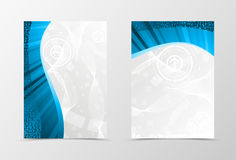 Front and back technologic wave flyer template design. Abstract template with digital dynamic background. Vector illustration Royalty Free Stock Images