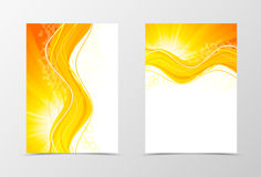 Front and back technologic wave flyer template design. Abstract template with orange lines and digital background. Vector illustration Royalty Free Stock Photo