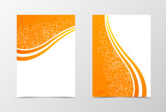 Front and back technologic wave flyer template design. Abstract template with orange lines and digital dynamic mosaic square background. Vector illustration Royalty Free Stock Image