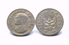 Front and back,Thai one baht collect Garuda coins year 1974. Front and back, Thai one baht collect Garuda coins year 1974. Isolated on white background stock photography