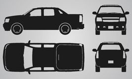 Front, back, top and side pickup truck projection Stock Photos