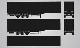 Front, back, top and side semi trailer for truck projection Royalty Free Stock Images