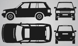 Front, back, top and side SUV projection Royalty Free Stock Photo