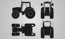 Front, back, top and side tractor projection. Flat illustration for designing icons, farm machinery Stock Photos