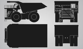 Front, back, top and side truck with load trailer projection. Flat illustration for designing icons stock illustration