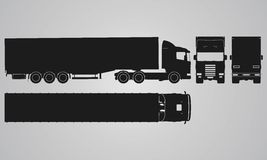 Front, back, top and side truck with load trailer projection Royalty Free Stock Photo
