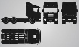Front, back, top and side truck without trailer projection Stock Photography