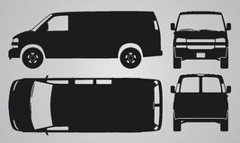 Front, back, top and side van car projection Royalty Free Stock Images