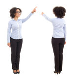 Front and back view of african american business woman pointing Stock Photo