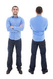 Front and back view of arabic business man in blue shirt isolate Royalty Free Stock Photo