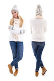 Front and back view of beautiful woman in winter clothes isolate Royalty Free Stock Photos