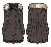 Front and back view of a brown winter coat with fur. Tech sketch for further product development royalty free illustration