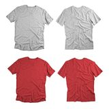 Front and back view of colored t-shirts on white background. Royalty Free Stock Image