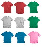 Front and back view of colored t-shirts on white background. Royalty Free Stock Photo