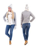 Front and back view of cute beautiful woman in winter clothes is Stock Photo