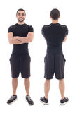 Front and back view of handsome bearded arabic sportsman isolate Royalty Free Stock Photography