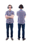 Front and back view of handsome teenage boy with headphones isol Stock Photos