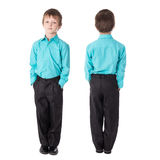 Front and back view of little boy in business suit isolated on w Royalty Free Stock Photography
