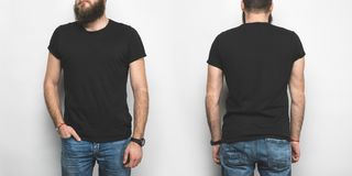 front and back view of man in black t-shirt royalty free stock photos