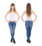 Front and back view of teenage girl in white t-shirt isolated on Royalty Free Stock Images