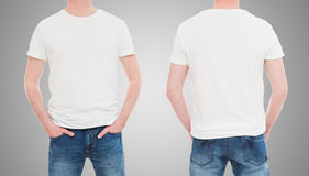 Front and back view tshirt template. Royalty Free Stock Photo