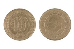 Turkish 10 Kurus Coin. Front and Back view of a Turkish 10 Kurus Coin on a white background Stock Photography