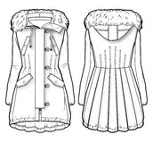Front and back view of a winter coat with fur. Tech sketch of a winter coat with fur hood royalty free illustration