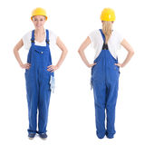 Front and back view of woman in builder uniform isolated on whit Stock Images