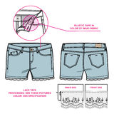 Front and back view of women`s shorts decorated with laces. Tech sketch of shorts` silhouette for various needs vector illustration