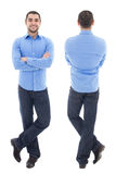 Front and back view of young arabic business man in blue shirt. Isolated on white background Stock Image