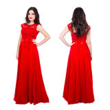 Front and back view of young beautiful woman in red dress isolat Royalty Free Stock Images