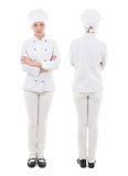 Front and back view of young woman in chef uniform isolated on w Royalty Free Stock Photos
