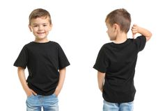 Front and back views of little boy in black t-shirt. On white background. Mockup for design stock photography