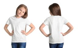 Front and back views of little girl in blank t-shirt. On white background. Mockup for design stock photos