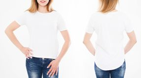 Front and back views of pretty woman, girl in stylish tshirt on. White background. Mock up for design. Copy space. Template. Blank stock photography