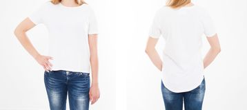Front and back views of pretty woman, girl in stylish tshirt on white background. Mock up for design. Copy space. Template. Blank.  royalty free stock photos